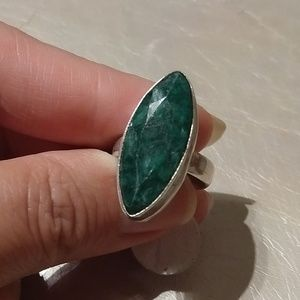 Natural emerald ring size 6 sterling plated